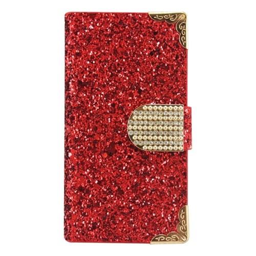 Teleplus İphone 5 Kırmızı Taşlı Deri Kılıf