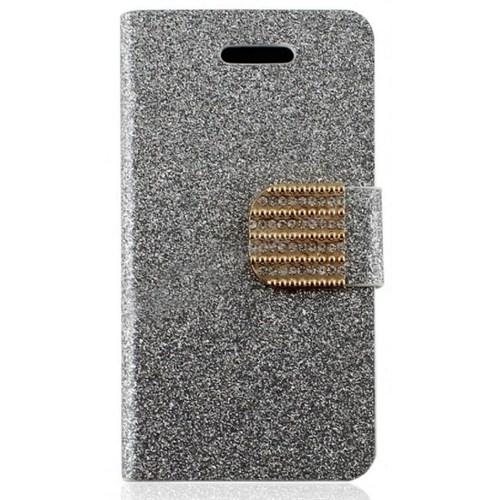 Teleplus İphone 4S Gümüş Taşlı Standlı Kılıf