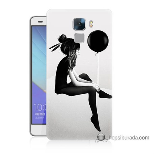 Teknomeg Huawei Honor 7 Kapak Kılıf Balonlu Kız Baskılı Silikon