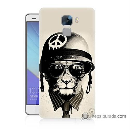 Teknomeg Huawei Honor 7 Kılıf Kapak Barışçı Aslan Baskılı Silikon