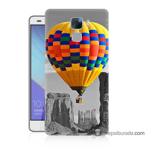 Teknomeg Huawei Honor 7 Kılıf Kapak Renkli Uçan Balon Baskılı Silikon