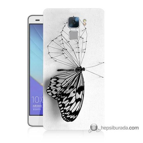 Teknomeg Huawei Honor 7 Kapak Kılıf Kanatsız Kelebek Baskılı Silikon