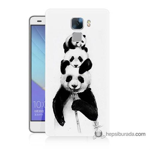 Teknomeg Huawei Honor 7 Kapak Kılıf Panda Ailesi Baskılı Silikon