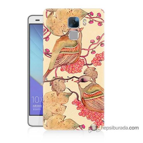 Teknomeg Huawei Honor 7 Kılıf Kapak Kuşlar Baskılı Silikon