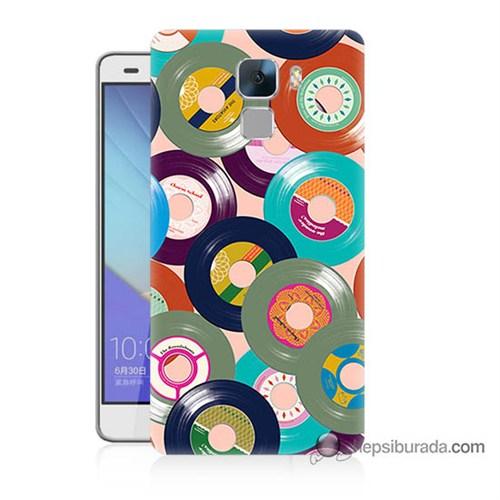 Teknomeg Huawei Honor 7 Kapak Kılıf Renkli Plaklar Baskılı Silikon