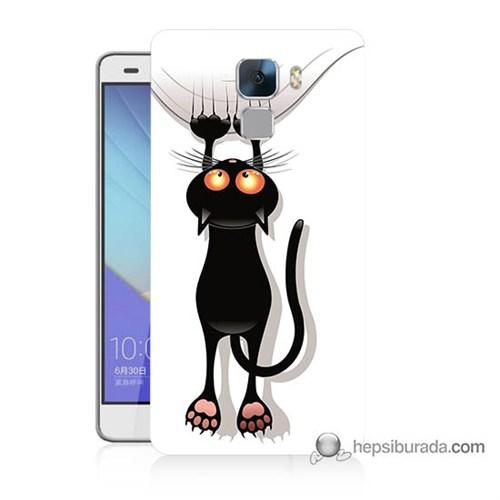 Teknomeg Huawei Honor 7 Kılıf Kapak Kara Kedi Baskılı Silikon