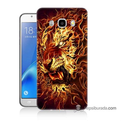 Teknomeg Samsung J5 2016 Kılıf Kapak Ateşli Aslan Baskılı Silikon