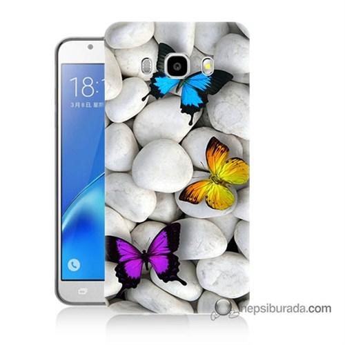 Teknomeg Samsung J5 2016 Kılıf Kapak Kelebekler Baskılı Silikon