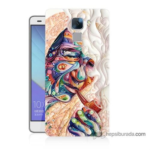Teknomeg Huawei Honor 7 Kılıf Kapak Kağıt Sanatı Baskılı Silikon