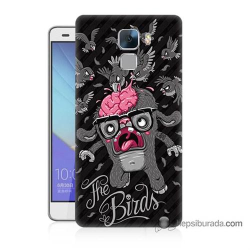 Teknomeg Huawei Honor 7 Kılıf Kapak The Birds Baskılı Silikon