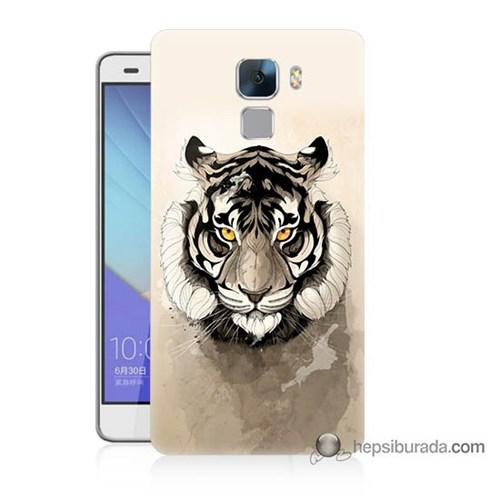 Teknomeg Huawei Honor 7 Kapak Kılıf Beyaz Aslan Baskılı Silikon