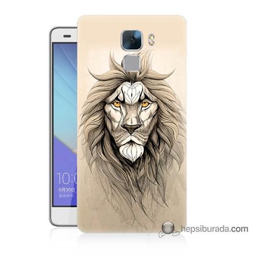 Teknomeg Huawei Honor 7 Kılıf Kapak Beyaz Aslan Baskılı Silikon