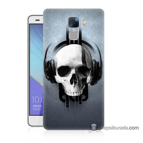 Teknomeg Huawei Honor 7 Kılıf Kapak Müzik Dinleyen Kurukafa Baskılı Silikon