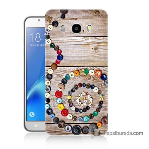 Teknomeg Samsung J5 2016 Kapak Kılıf Düğmeler Baskılı Silikon