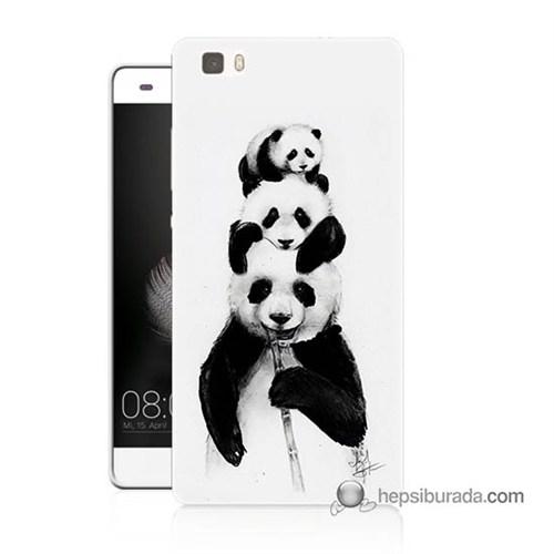 Teknomeg Huawei P8 Lite Kapak Kılıf Panda Ailesi Baskılı Silikon