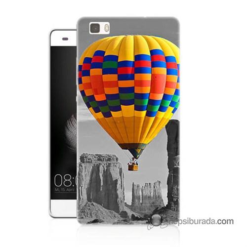 Teknomeg Huawei P8 Lite Kılıf Kapak Renkli Uçan Balon Baskılı Silikon