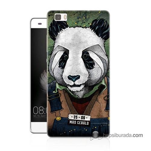 Teknomeg Huawei P8 Lite Kapak Kılıf İşçi Panda Baskılı Silikon