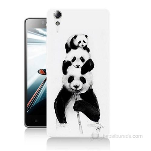 Teknomeg Lenovo A6000 Kapak Kılıf Panda Ailesi Baskılı Silikon