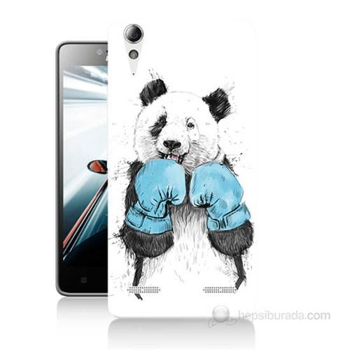 Teknomeg Lenovo A6000 Kılıf Kapak Boksör Panda Baskılı Silikon