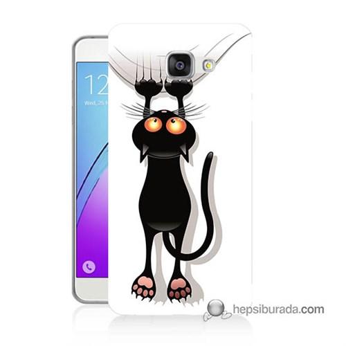 Teknomeg Samsung Galaxy A3 2016 Kılıf Kapak Kara Kedi Baskılı Silikon