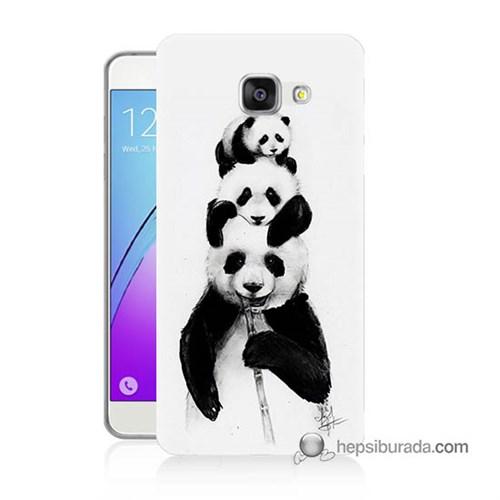 Teknomeg Samsung Galaxy A3 2016 Kapak Kılıf Panda Ailesi Baskılı Silikon