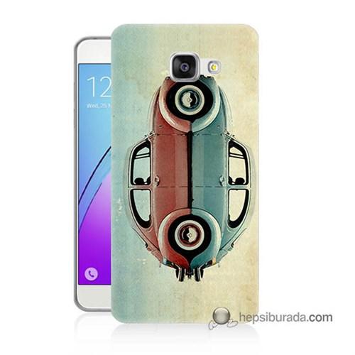 Teknomeg Samsung Galaxy A3 2016 Kılıf Kapak Mavi Kırmızı Wolkswagen Baskılı Silikon