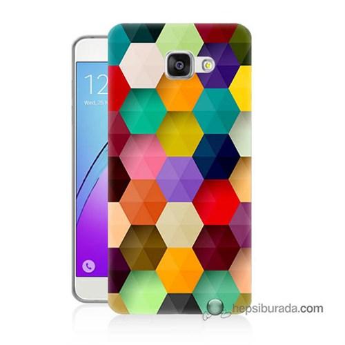 Teknomeg Samsung Galaxy A3 2016 Kapak Kılıf Renkli Petek Baskılı Silikon