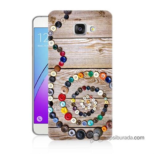 Teknomeg Samsung Galaxy A3 2016 Kapak Kılıf Düğmeler Baskılı Silikon