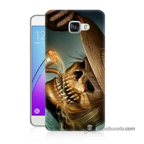 Teknomeg Samsung Galaxy A3 2016 Kapak Kılıf Pipolu Kurukafa Baskılı Silikon