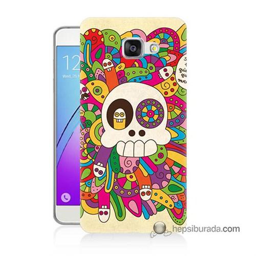 Teknomeg Samsung Galaxy A5 2016 Kapak Kılıf Örgülü Kurukafa Baskılı Silikon