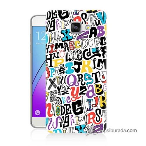 Teknomeg Samsung Galaxy A7 2016 Kılıf Kapak Renkli Harfler Baskılı Silikon