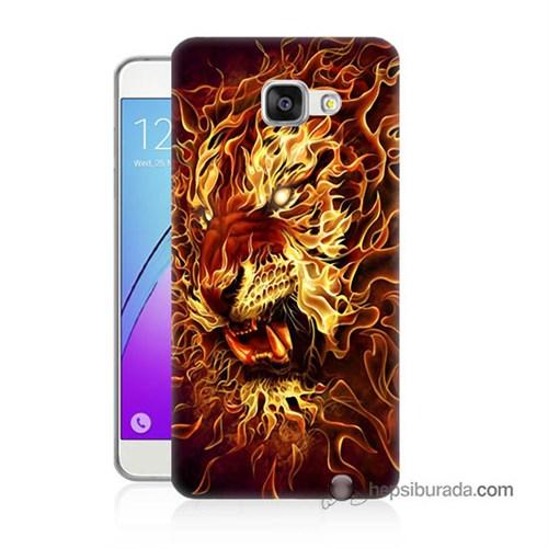 Teknomeg Samsung Galaxy A5 2016 Kılıf Kapak Ateşli Aslan Baskılı Silikon