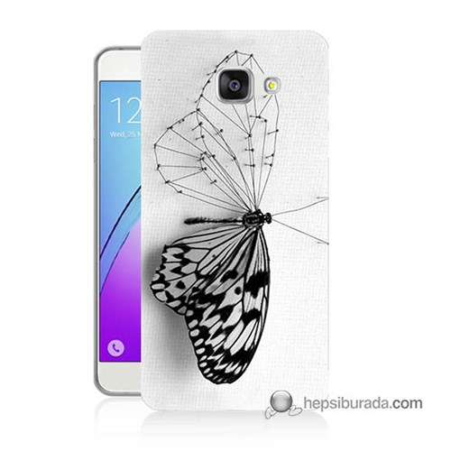 Teknomeg Samsung Galaxy A7 2016 Kapak Kılıf Kanatsız Kelebek Baskılı Silikon