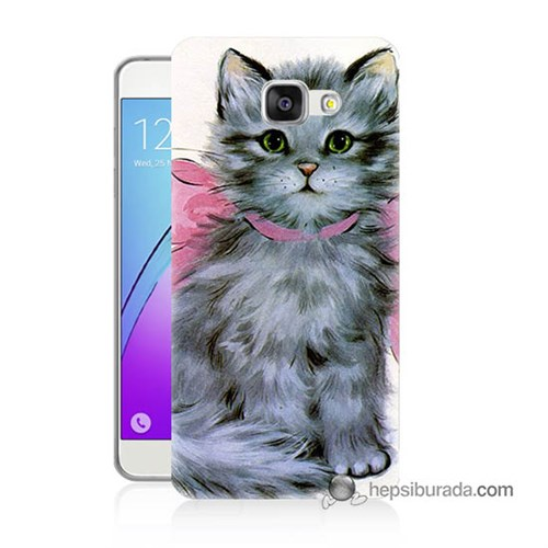 Teknomeg Samsung Galaxy A7 2016 Kılıf Kapak Papyonlu Kedi Baskılı Silikon