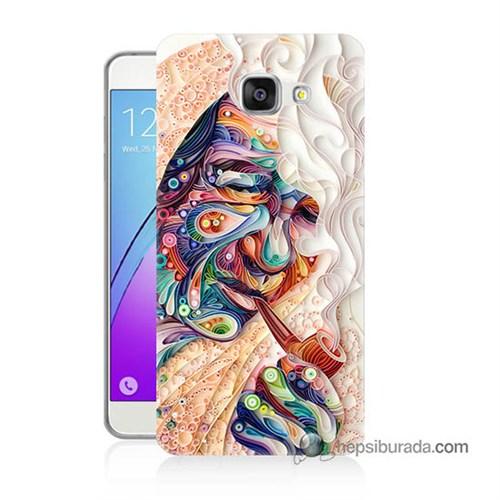 Teknomeg Samsung Galaxy A7 2016 Kılıf Kapak Kağıt Sanatı Baskılı Silikon