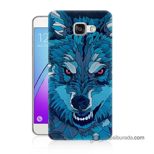 Teknomeg Samsung Galaxy A7 2016 Kılıf Kapak Mavi Kurt Baskılı Silikon