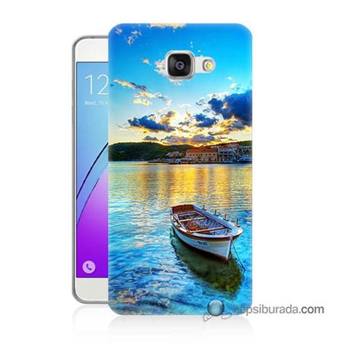 Teknomeg Samsung Galaxy A7 2016 Kılıf Kapak Gün Batımında Deniz Baskılı Silikon