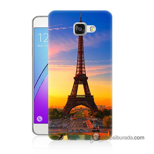 Teknomeg Samsung Galaxy A7 2016 Kapak Kılıf Eyfelde Gün Batımı Baskılı Silikon