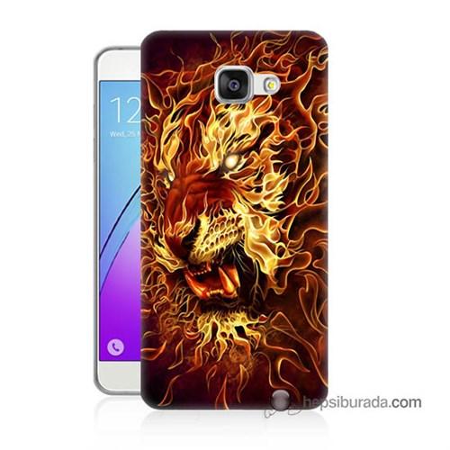 Teknomeg Samsung Galaxy A7 2016 Kılıf Kapak Ateşli Aslan Baskılı Silikon