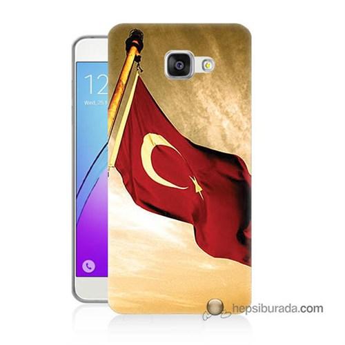 Teknomeg Samsung Galaxy A7 2016 Kılıf Kapak Türk Bayrağı Baskılı Silikon