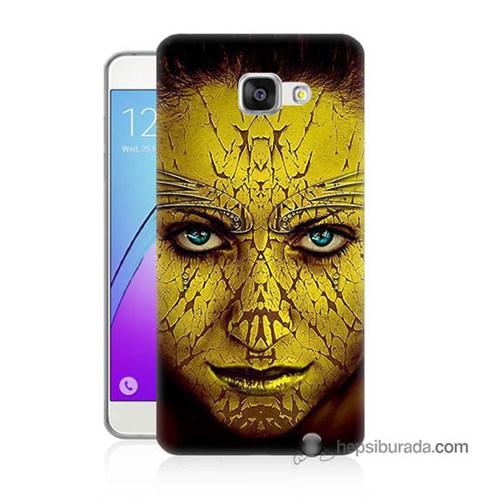 Teknomeg Samsung Galaxy A7 2016 Kapak Kılıf Sarı Kız Baskılı Silikon