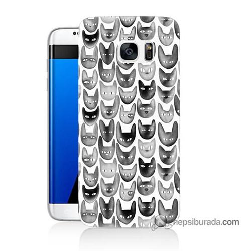 Teknomeg Samsung Galaxy S7 Edge Kapak Kılıf Kediler Baskılı Silikon