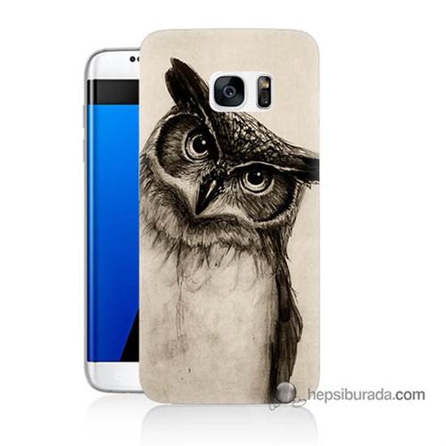Teknomeg Samsung Galaxy S7 Edge Kılıf Kapak Düşünen Baykuş Baskılı Silikon