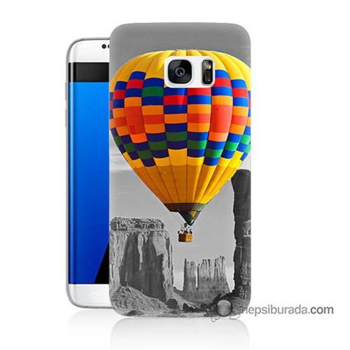 Teknomeg Samsung Galaxy S7 Edge Kılıf Kapak Renkli Uçan Balon Baskılı Silikon