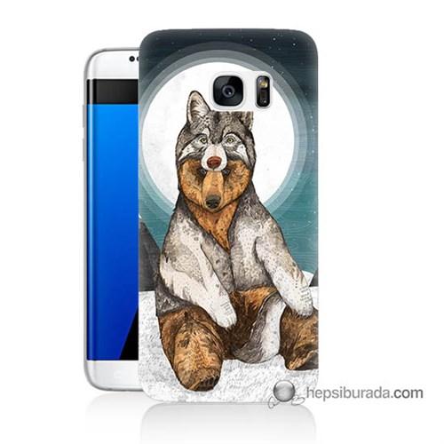 Teknomeg Samsung Galaxy S7 Edge Kapak Kılıf Postlu Ayı Baskılı Silikon