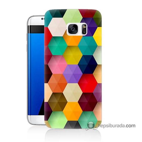 Teknomeg Samsung Galaxy S7 Edge Kapak Kılıf Renkli Petek Baskılı Silikon
