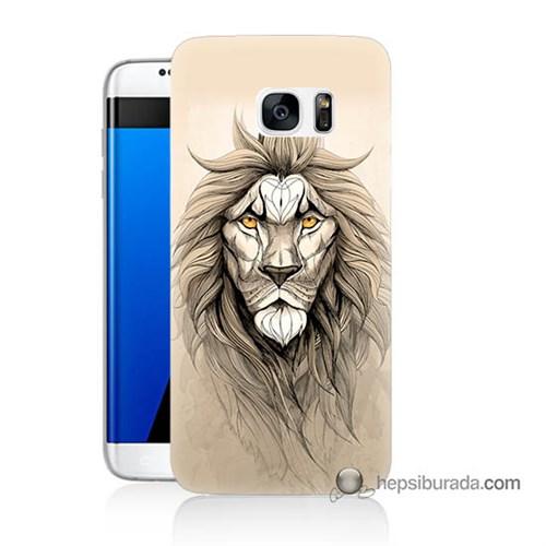 Teknomeg Samsung Galaxy S7 Edge Kılıf Kapak Beyaz Aslan Baskılı Silikon