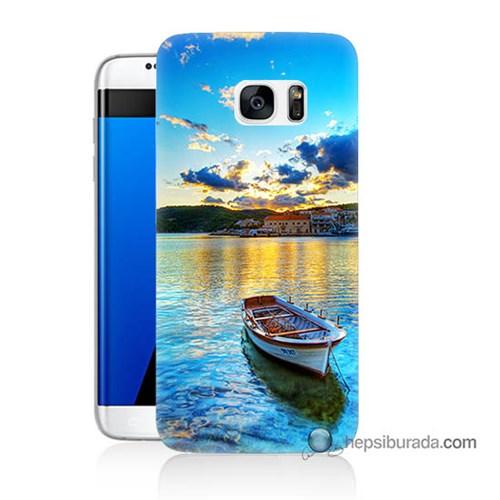 Teknomeg Samsung Galaxy S7 Edge Kılıf Kapak Gün Batımında Deniz Baskılı Silikon