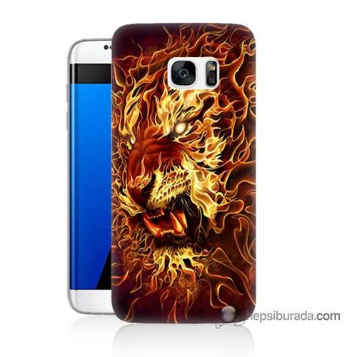 Teknomeg Samsung Galaxy S7 Edge Kılıf Kapak Ateşli Aslan Baskılı Silikon