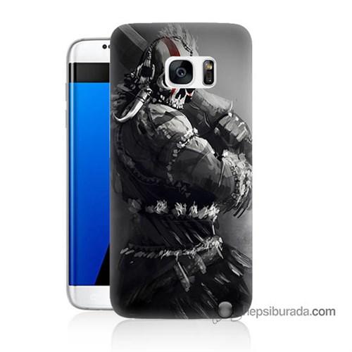Teknomeg Samsung Galaxy S7 Edge Kılıf Kapak Tribal Warrior Baskılı Silikon
